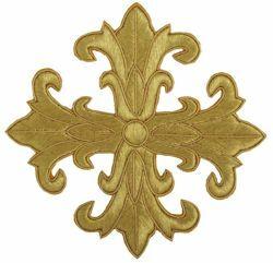 Imagen de Cruz bordada decoración H. cm 16 (6,3 inch) en hilo metálico y Viscosa para Casullas y Vestiduras litúrgicas