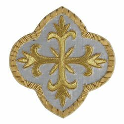 Picture of Embroidered Cross Motif on silver basis H. cm 10 (3.9 inch) Metallic thread and Viscose for Chasubles and liturgical Vestments