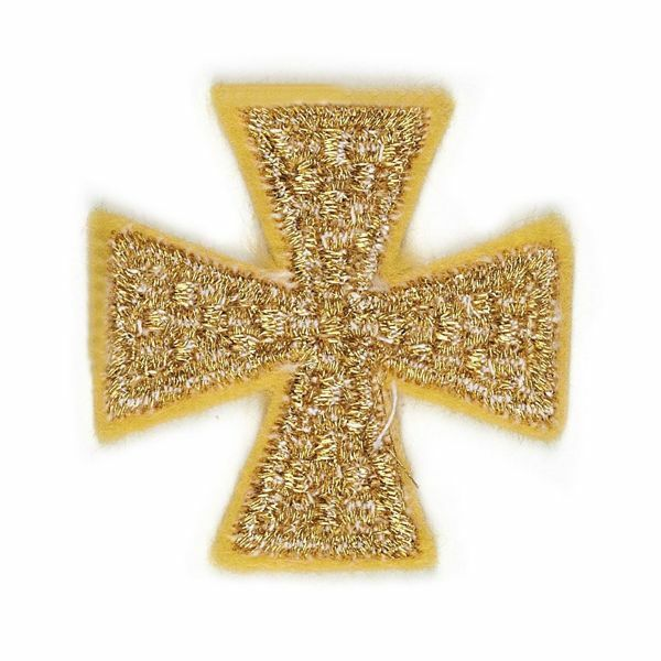 Picture of Embroidered Cross Motif on gold cloth Dama embroidery H. cm 4 (1,6 inch) Cotton blend for Chasubles and liturgical Vestments