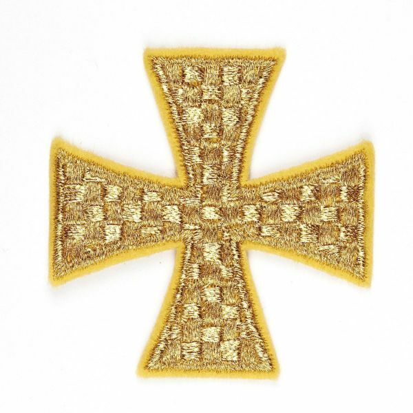 Picture of Embroidered Cross Motif on gold cloth Dama embroidery H. cm 6 (2,4 inch) Cotton blend for Chasubles and liturgical Vestments