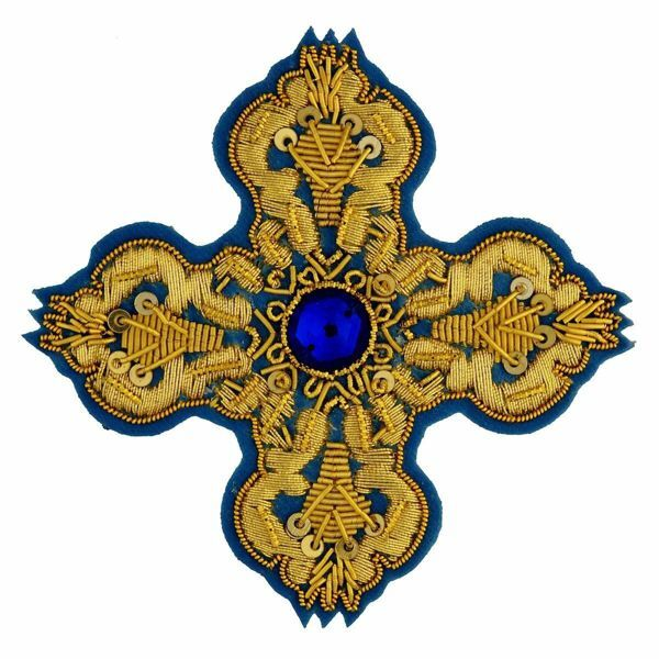 Picture of Embroidered Cross Motif with paillettes with stone H. cm 7,5 (2,95 inch) Metallic thread and Viscose Celestial Violet Green Flag Gold Red/Crimson White/Gold for Chasubles and liturgical Vestments
