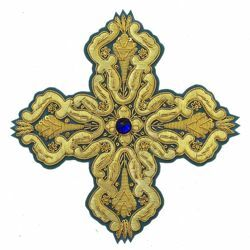 Picture of Embroidered Cross Motif with paillettes with stone H. cm 15 (5,9 inch) Metallic thread and Viscose Celestial Violet Green Flag Gold Red/Crimson White/Gold for Chasubles and liturgical Vestments