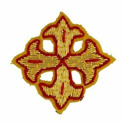 Picture of Embroidered Cross Gold Fleury Motif with red trim H. cm 3 (1,2 inch) Metallic thread and Viscose for Chasubles and liturgical Vestments