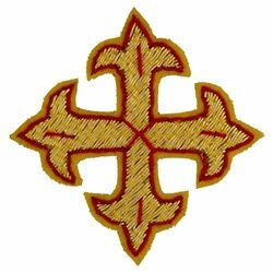 Picture of Embroidered Cross Gold Fleury Motif with red trim H. cm 5 (2,0 inch) Metallic thread and Viscose for Chasubles and liturgical Vestments