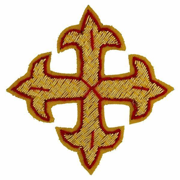 Imagen de Cruz flordeliseada bordada decoración oro con borde rojo H. cm 5 (2,0 inch) en hilo metálico y Viscosa para Casullas y Vestiduras litúrgicas