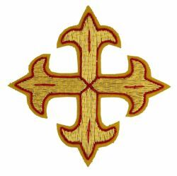 Picture of Embroidered Cross Gold Fleury Motif with red trim H. cm 8 (3,1 inch) Metallic thread and Viscose for Chasubles and liturgical Vestments