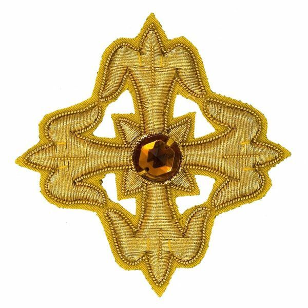 Picture of Embroidered Cross Gold Fleury Motif with stone H. cm 6 (2,4 inch) Metallic thread and Viscose Gold for Chasubles and liturgical Vestments