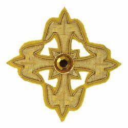 Picture of Embroidered Cross Gold Fleury Motif with stone H. cm 7,5 (2,95 inch) Metallic thread and Viscose Gold for Chasubles and liturgical Vestments