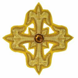 Picture of Embroidered Cross Gold Fleury Motif with stone H. cm 8 (3,1 inch) Metallic thread and Viscose Gold for Chasubles and liturgical Vestments