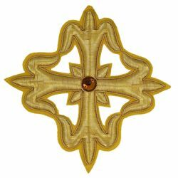 Picture of Embroidered Cross Gold Fleury Motif with stone H. cm 15 (5,9 inch) Metallic thread and Viscose Gold for Chasubles and liturgical Vestments