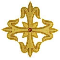 Picture of Embroidered Cross Gold Fleury Motif with stone H. cm 18 (7,1 inch) Metallic thread and Viscose Gold for Chasubles and liturgical Vestments