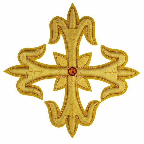 Imagen de Cruz flordeliseada bordada decoración oro con piedra H. cm 18 (7,1 inch) en hilo metálico y Viscosa Oro para Casullas y Vestiduras litúrgicas