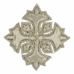 Picture of Embroidered Cross Motif with embroidered lilies H. cm 5 (2,0 inch) Metallic thread and Viscose Gold Silver for Chasubles and liturgical Vestments