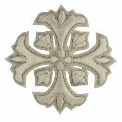 Picture of Embroidered Cross Motif with embroidered lilies H. cm 7,5 (2,95 inch) Metallic thread and Viscose Gold Silver for Chasubles and liturgical Vestments