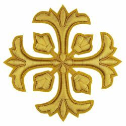 Picture of Embroidered Cross Motif with embroidered lilies H. cm 10 (3.9 inch) Metallic thread and Viscose Gold Silver for Chasubles and liturgical Vestments