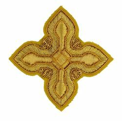 Picture of Embroidered Cross Ramino Motif Gold embroidery H. cm 5 (2,0 inch) Metallic thread and Viscose Gold for Chasubles and liturgical Vestments