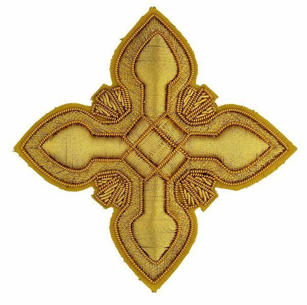 Immagine di Croce ricamata decorazione ramino ricamata oro H. cm 7,5 (2,95 inch) in filato metallico e Viscosa Oro Applicazione per Casula Stole e Paramenti liturgici