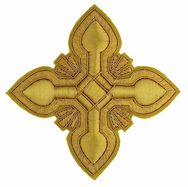 Picture of Embroidered Cross Ramino Motif Gold embroidery H. cm 10 (3.9 inch) Metallic thread and Viscose Gold for Chasubles and liturgical Vestments