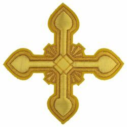 Picture of Embroidered Cross Ramino Motif Gold embroidery H. cm 15 (5,9 inch) Metallic thread and Viscose Gold for Chasubles and liturgical Vestments