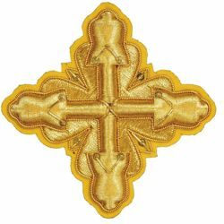 Picture of Embroidered Cross Ramino Motif with paillettes Gold embroidery H. cm 7,5 (2,95 inch) Metallic thread and Viscose Gold Silver Red/Crimson for Chasubles and liturgical Vestments