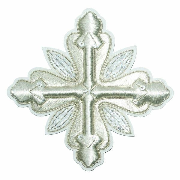Picture of Embroidered Cross Ramino Motif with paillettes Gold embroidery H. cm 15 (5,9 inch) Metallic thread and Viscose Gold Silver Red/Crimson for Chasubles and liturgical Vestments