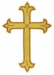 Picture of Embroidered Cross Fleury Gold Motif with red trim H. cm 18 (7,1 inch) Metallic thread and Viscose for Chasubles and liturgical Vestments