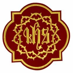 Picture of Quatrefoil Embroidered applique Emblem JHS and Crown of Thorns H. cm 21 (8,3 inch) Polyester Gold/Red for liturgical Vestments