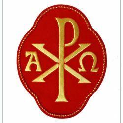 Immagine di Emblema ricamato quadrilobo decorazione Pax Alpha Omega H. cm 20 (7,9 inch) in Poliestere Oro/Rosso per Velo Omerale e Paramenti liturgici