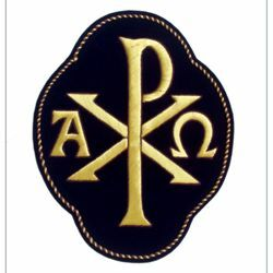 Picture of Quatrefoil Embroidered applique Emblem Pax Alpha Omega symbol H. cm 20 (7,9 inch) Polyester Gold/Violet for liturgical Vestments