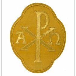 Immagine di Emblema ricamato quadrilobo decorazione Pax Alpha Omega H. cm 20 (7,9 inch) in Poliestere Oro/Giallo per Velo Omerale e Paramenti liturgici