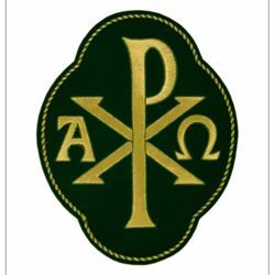 Picture of Quatrefoil Embroidered applique Emblem Pax Alpha Omega symbol H. cm 20 (7,9 inch) Polyester Gold/Green for liturgical Vestments