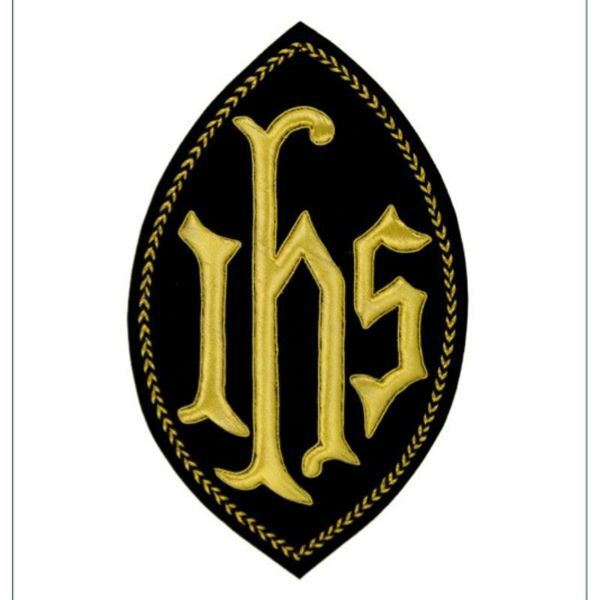 Picture of Oval Embroidered applique Emblem JHS symbol H. cm 23 (9,1 inch) Polyester Gold/Black for liturgical Vestments