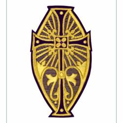 Picture of Oval Embroidered applique Emblem with embroidered lilies H. cm 24 (9,4 inch) Polyester Gold/Violet for liturgical Vestments