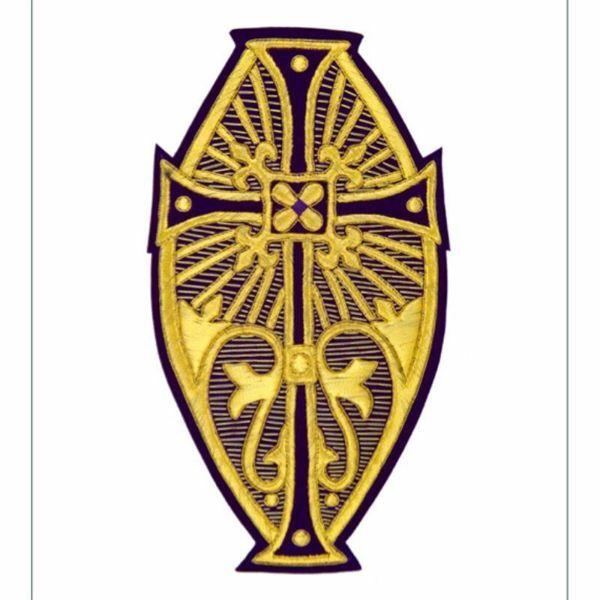 Immagine di Emblema ricamato ovale decorazione giglio H. cm 24 (9,4 inch) in Poliestere Oro/Viola per Velo Omerale e Paramenti liturgici