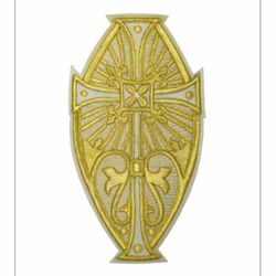 Picture of Oval Embroidered applique Emblem with embroidered lilies H. cm 24 (9,4 inch) Polyester Gold/White for liturgical Vestments