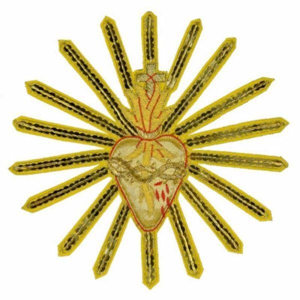 Immagine di Emblema ricamato decorazione Sacro Cuore H. cm 23 (9,1 inch) in Poliestere Oro/Rosso per Velo Omerale e Paramenti liturgici