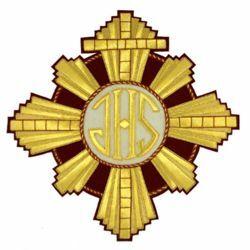 Immagine di Emblema ricamato decorazione tondo raggiera H. cm 28 (11,0 inch) in Poliestere Oro/Granata per Velo Omerale e Paramenti liturgici