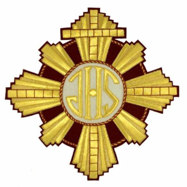 Picture of Embroidered applique Emblem H. cm 28 (11,0 inch) Polyester Gold/Garnet Red for liturgical Vestments