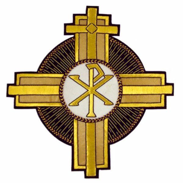 Immagine di Emblema ricamato Croce decorazione tondo Pax H. cm 26 (10,2 inch) in Poliestere Viola/Oro per Velo Omerale e Paramenti liturgici