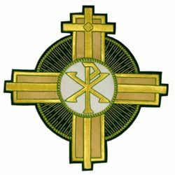 Picture of Embroidered Cross applique Emblem Pax symbol H. cm 26 (10,2 inch) Polyester Emerald Green/Gold for liturgical Vestments