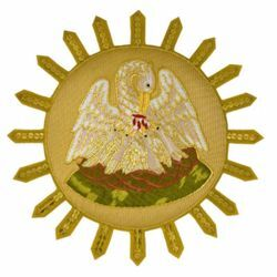 Picture of Embroidered applique Emblem Pelican H. cm 25 (9,8 inch) Polyester for liturgical Vestments