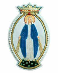 Picture of Embroidered applique Emblem Madonna H. cm 21 (8,3 inch) Polyester for liturgical Vestments