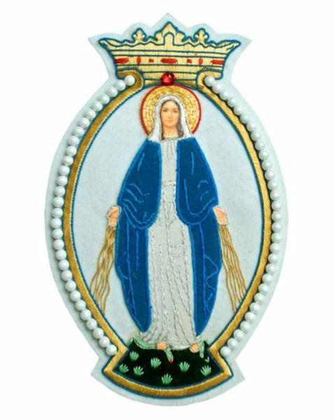 Immagine di Emblema ricamato decorazione Madonna H. cm 21 (8,3 inch) in Poliestere per Velo Omerale e Paramenti liturgici