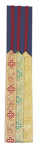 Immagine di Segnacolo Segnalibro a 3 nastri colorati base cartone L. cm 30 (11,8 inch) in Poliestere e Cellulosa Marcatori di pagina per Missale e Testi Sacri