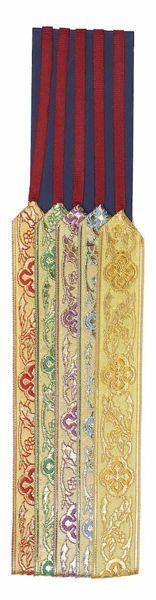 Immagine di Segnacolo Segnalibro a 5 nastri colorati base cartone L. cm 30 (11,8 inch) in Poliestere e Cellulosa Marcatori di pagina per Missale e Testi Sacri