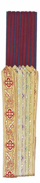Immagine di Segnacolo Segnalibro a 7 nastri colorati base cartone L. cm 30 (11,8 inch) in Poliestere e Cellulosa Marcatori di pagina per Missale e Testi Sacri