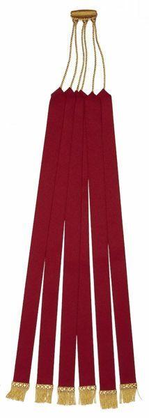 Immagine di Segnacolo Segnalibro a 6 nastri rossi con frangetta L. cm 45 (17,7 inch) Poliestere Acetato Marcatori di pagina per Missale e Testi Sacri