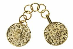Picture of Round Cope Clasp with Cross Gold painted metal for Cope Pluviale Surplice Cloak and liturgical Vestments