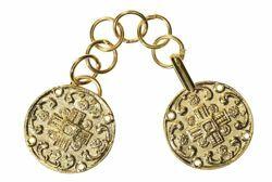 Immagine di Gancio Alamaro modello tondo oro con Croce in metallo per Piviale Cotta Mantelli e Paramenti sacri