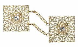 Imagen de Broche Alamar quadrado oro con cadena y Swarowski de Latón Oro para Capa Pluvial Sobrepelliz Manto y Vestiduras litúrgicas